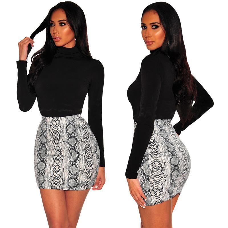 Сексуальные женские кожаные змеиные леопардовые принт юбка Летняя высокая талия мини короткий карандаш Bodycon Femme тонкий пакет бедра плюс размер 2021 юбки