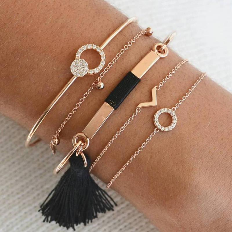 Cuff 5 Pcs/set Bohemian Retro Crystal Circle Geometry Tassel Pendant Bracelet Set Women Charm Party Jewelry Accessories Drop