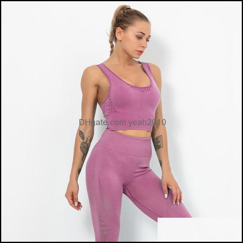 Yoga exercício desgaste esportes ao ar livre esportes outdoorsyoga roupas sem costura mulheres definir fitness roupas ginásio esporte ternos top + calças cair
