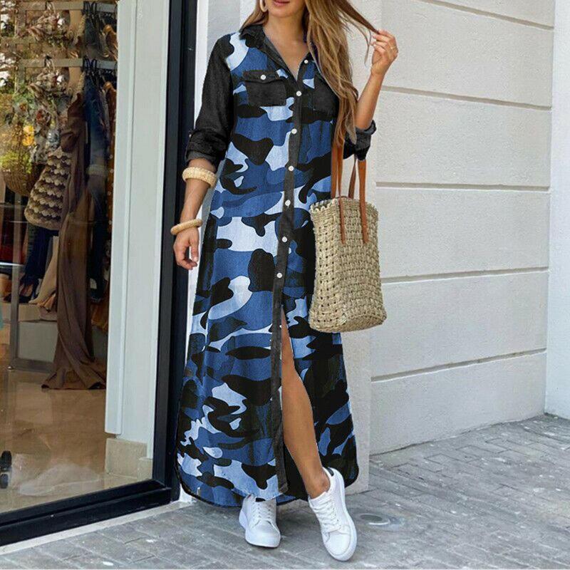 Мода Женщины Стиль Boho Стиль Длинные Рукава Цветы Леопардовый Камуфляж Распечатать Сплит Подол Maxi Рубашка Платье Повседневные платья