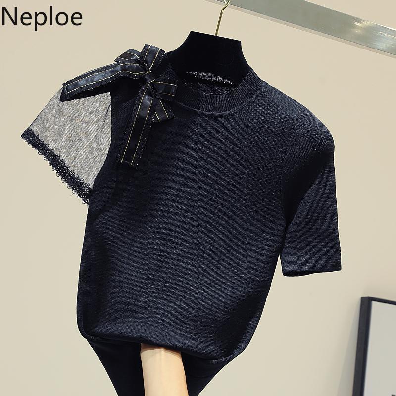 Kadın Tişörtleri Patchwork Gazlı Bez Kısa Kollu Gömlek Yay Yaz Örme Tees Kore Moda Giyim Tops Femme 95138 210422