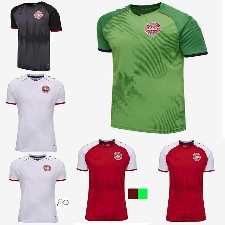 2021 2022 Dinamarca Futebol Jersey 21 22 Dinamarca Camisetas Eriksen Hojbjerg Yussuf Christensen Home Away Adulto Adulto Camisa De Futebol Goleiro