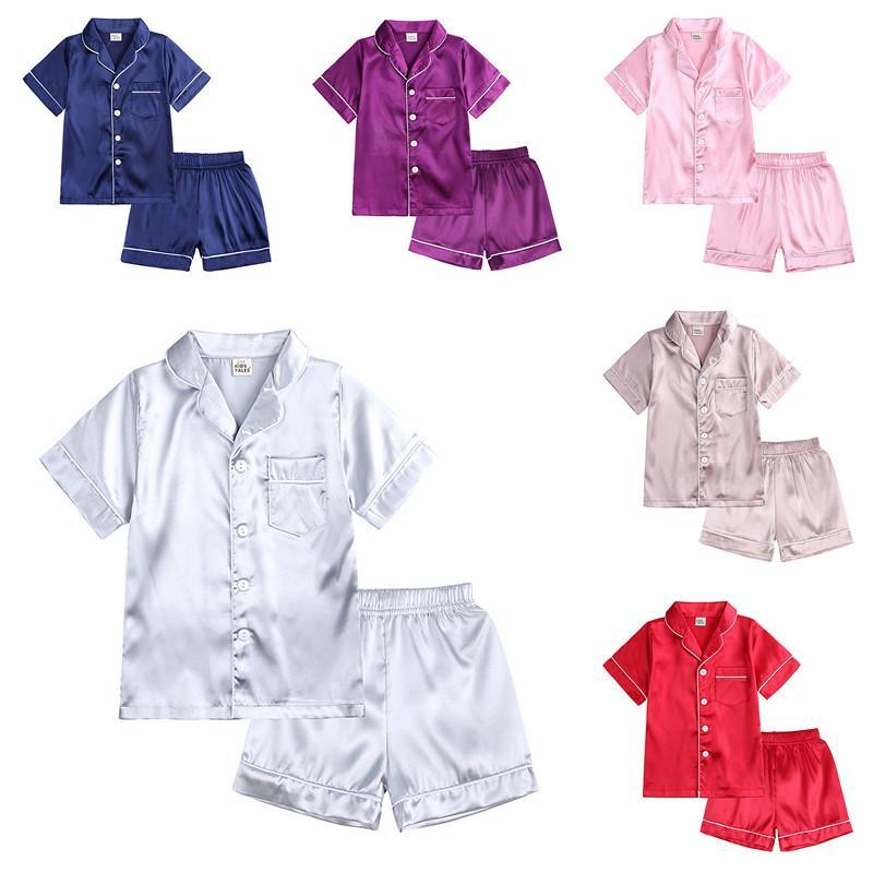Kid Pyjamas Vêtements de nuit Vêtements Ensemble Garçon Girl Manches courtes avec Short de poche 2 PCS Summer