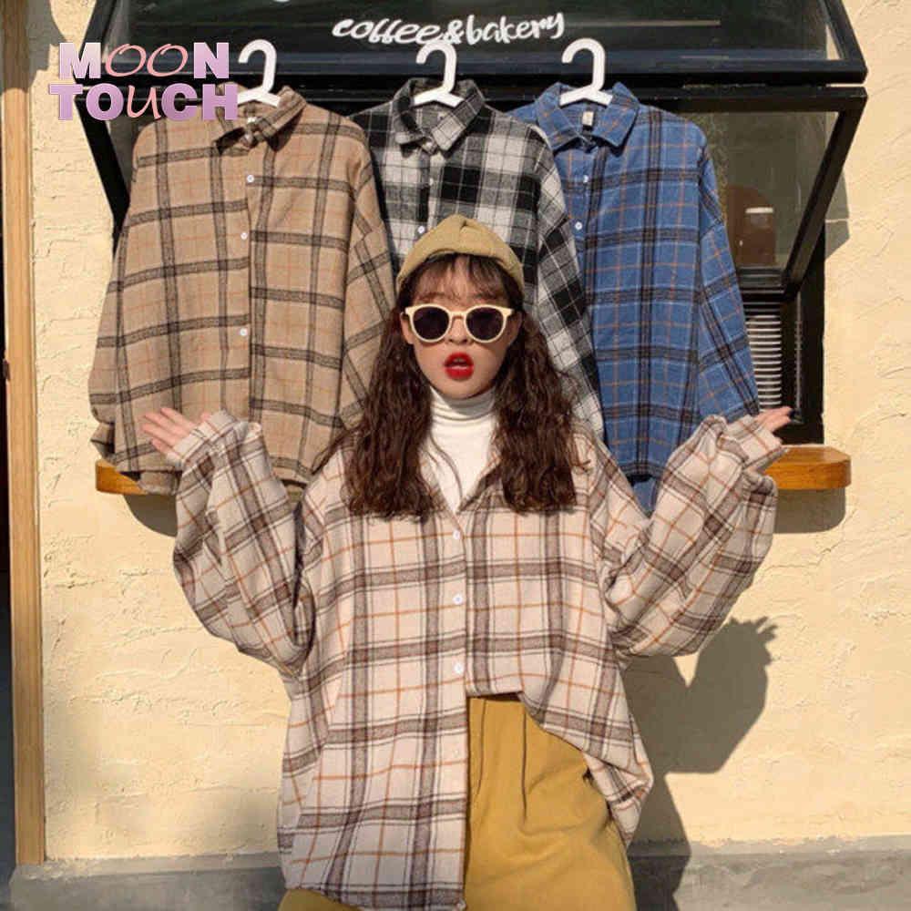 Kadın Ekose Sıcak Gömlek Kadın Ceket Kontrol Ceket Rahat Turn-down Yaka Uzun Kollu Sonbahar Bluz Moda Gevşek Dış Giyim Tops 210402