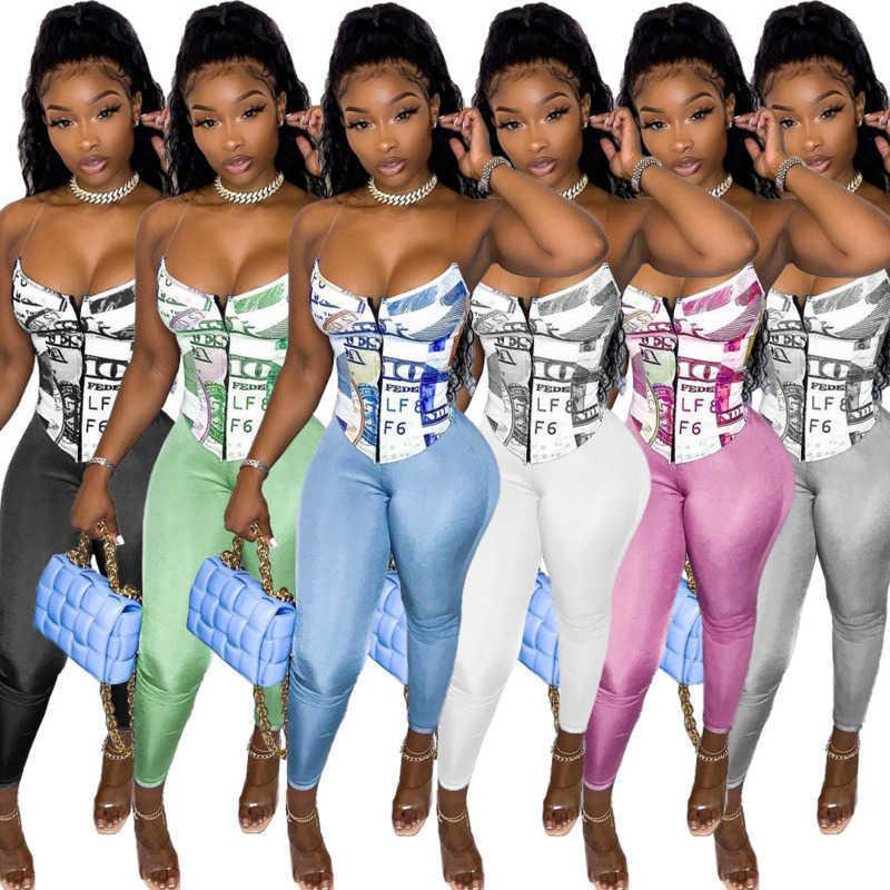 Kadın Eşofman Iki Parçalı Pantolon Set Tasarımcı Şort Kıyafetler Ince Seksi Harfler Desen Baskılı Straplez Üst Sutyen Eğlence Spor Yüksek Esneklik Suit
