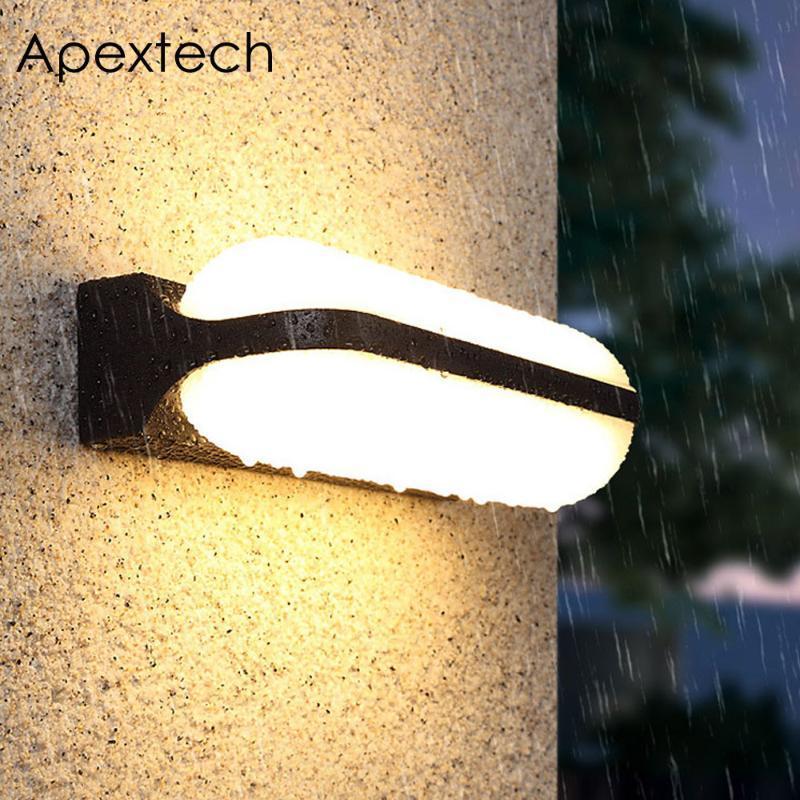 مصابيح الجدار في الهواء الطلق Apextech أدى ضوء الشرفة مصباح 12 واط 24 واط IP54 ماء مثبت ممر شرفة دور دوران أضواء ديكور حديقة