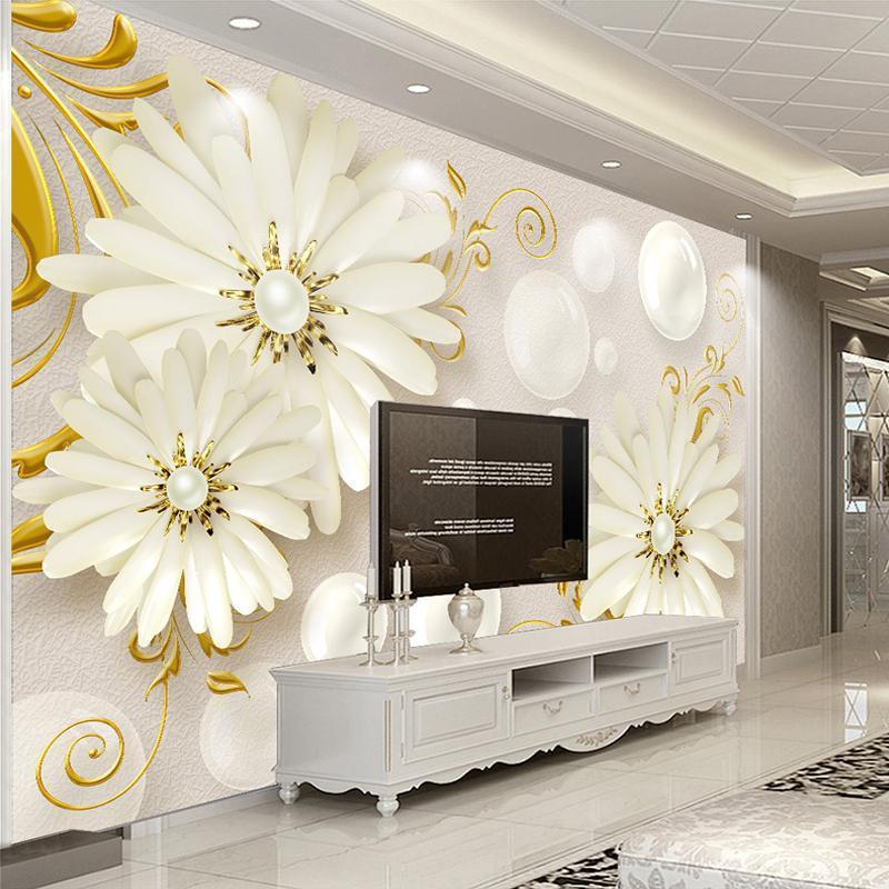 Papéis de Parede Personalizado Qualquer tamanho Pano de parede Papel de parede Murais 3D Flores Estéreo Círculo Esfera Sala de estar TV Fundo Po Papers Home Decor