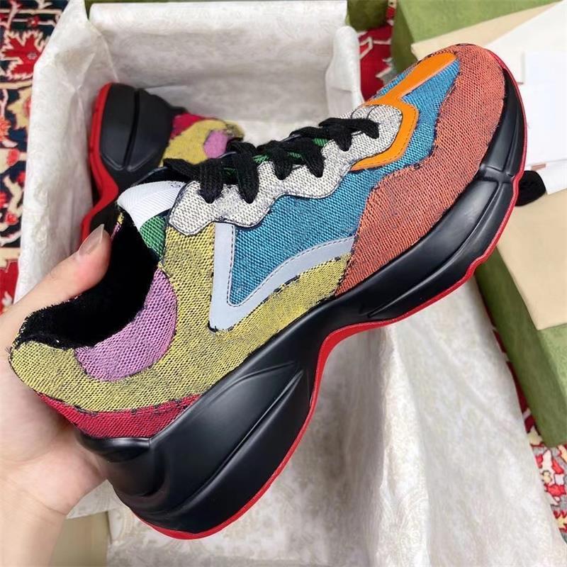 مصمم GG Rhyton حذاء جلد أبي أحذية للرجال النساء الجاكار النسيج متعدد الألوان أحذية رياضية الأزياء خمر عداء عارضة الأحذية أعلى جودة مع مربع