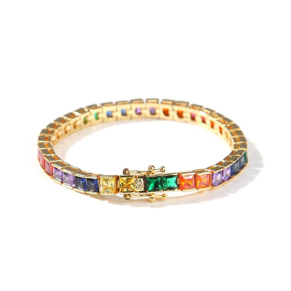 Tennis hip hop pp style chaîne bracelet femmes hommes cuivre carré coloré zircon branché arc-en-ciel couleur punk bijoux cadeaux
