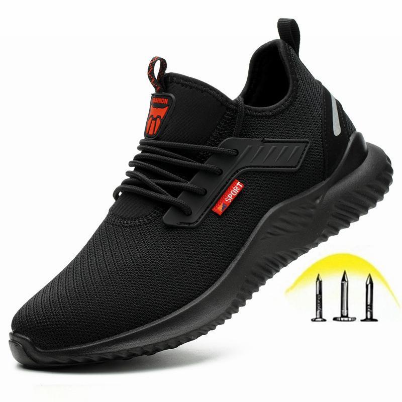 Sapatos de segurança masculinos duráveis, sapatos de trabalho, tampa de dedo do pé de aço, botas anti-punctures, boa permeabilidade ao ar, peso leve