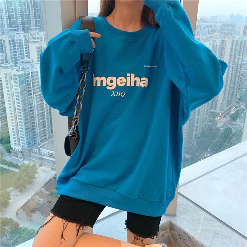 Damen Hoodies Sweatshirts 2021 Koreanische Version Lose Einfache Casual Hip-Hop Print Blauer langärmeliger Pullover Sweatshirt Top Trend