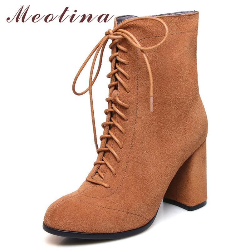 Bottines en cuir véritable Bottines Femmes Vache Bloc Block Heels Short Fermeture à glissière à talons hauts extrêmes Femme Automne Taille 34-39 210517