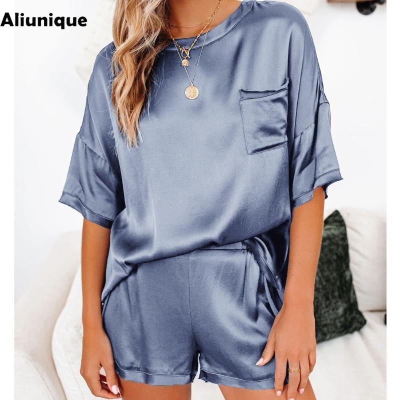 Aliunique Satin Pigiama Abbigliamento per la casa per le donne Fashion Summer Casual Pigiama Set Dolce manica corta T-shirt pantaloncini da notte Piste da donna
