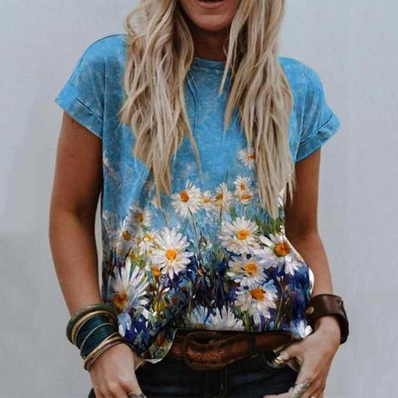 Sommer plus Größe T-shirt Nette Blumendruck T-Shirt Baumwolle Frauen T-Shirts O Hals Kurzarm T-Stück Übergroßes Tops # T1g Frauen