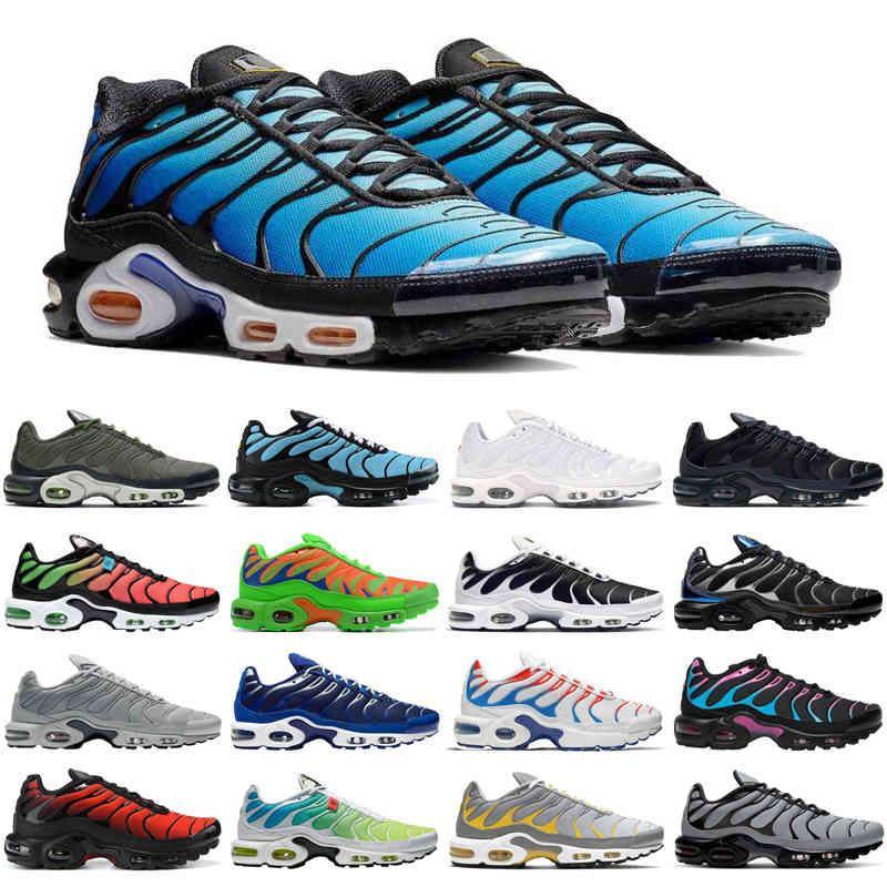 Descuento TN Plus SE Hombres Running Zapatos Triple Negro Blanco Cráter Psychic Blue Trainers Deportes Sneakers Tamaño 40-46