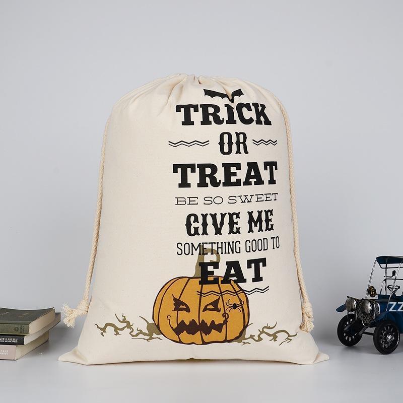 Dhl هالوين الحلوى حقيبة هدية كيس علاج أو خدعة اليقطين المطبوعة قماش أكياس هالوين حفلة عيد الميلاد مهرجان الرباط حقيبة HWF8510