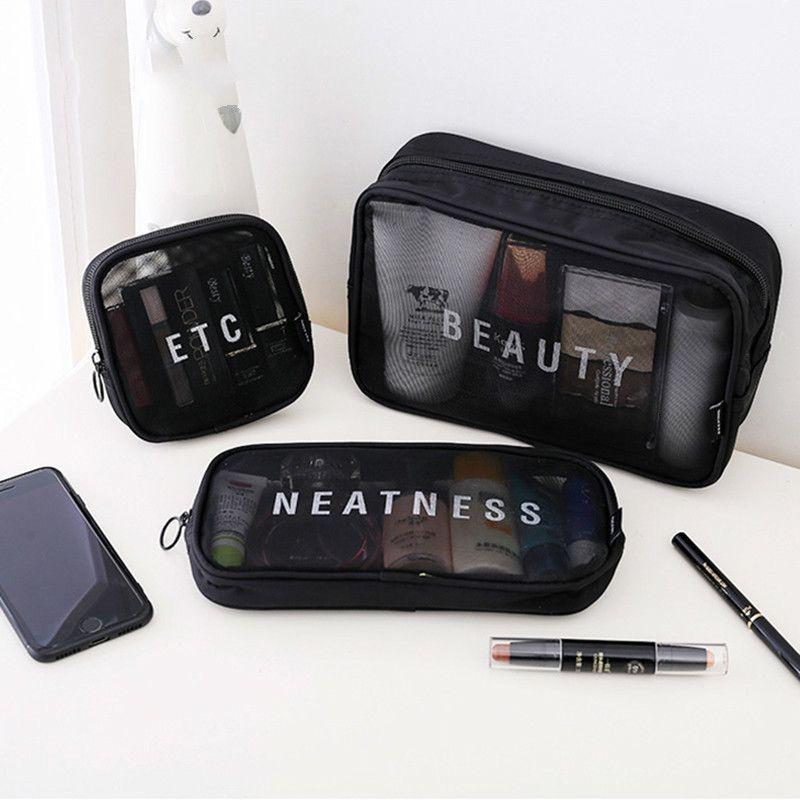 Сумки путешествия косметические женщины молния составляют прозрачный макияж организатор для хранения сумка туалетная кишка