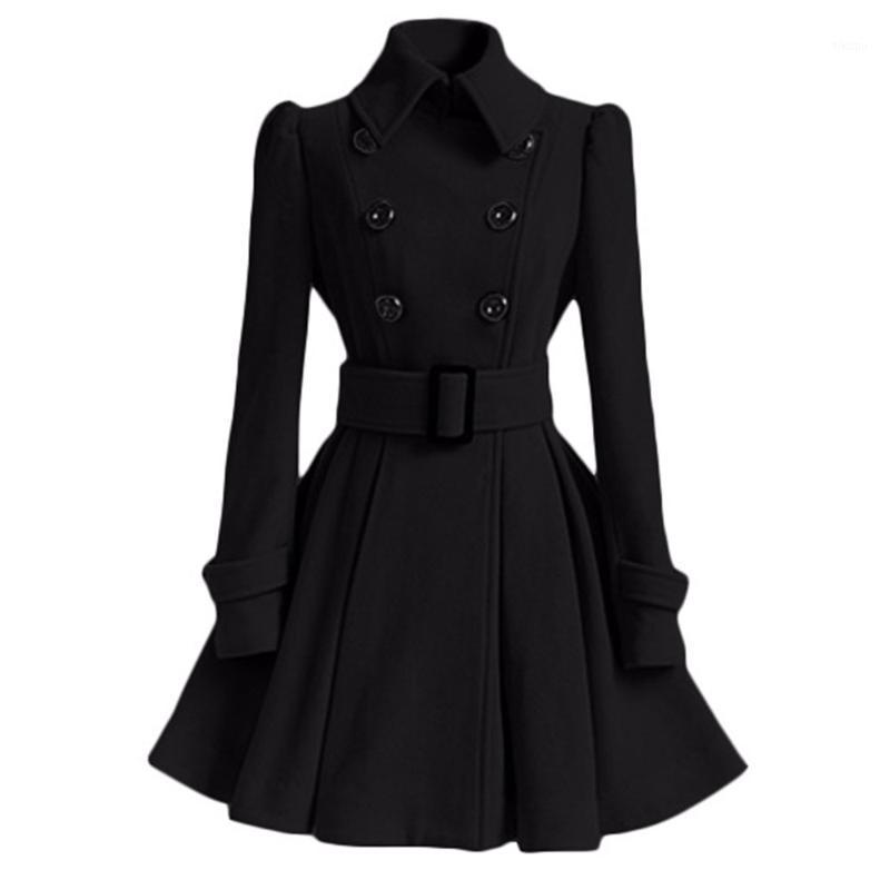 여성 빈티지 모직 코트 겨울 따뜻한 윈드 브레이커 잉글랜드 패션 블랙 스윙 헴 벨트 슬림 우아한 레트로 화이트 양모 Overcoat1