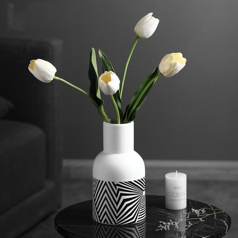 الشمال بسيط الفن زهرية الإبداعية الأسود السيراميك الطاولة الجدول ديكور غرفة المعيشة الديكور المنزل Jarrones BN50HP المزهريات