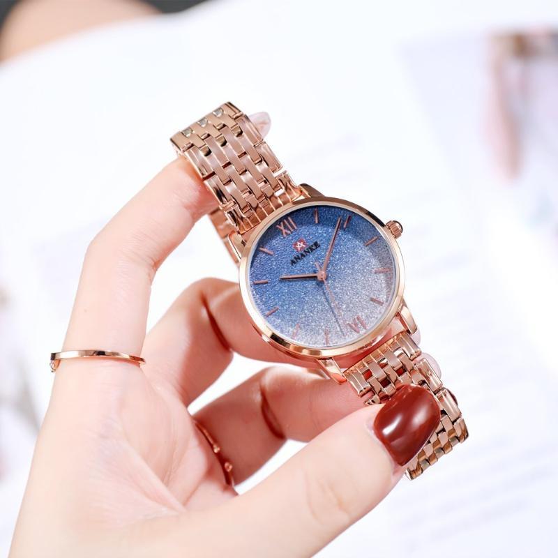 Wristwatches ANANKE Est Women Quartz Watch Bracelet Clasp Sequines Starry Sky Gradient Dial Steel Strap Ladies Luxury Wristwatch AN30