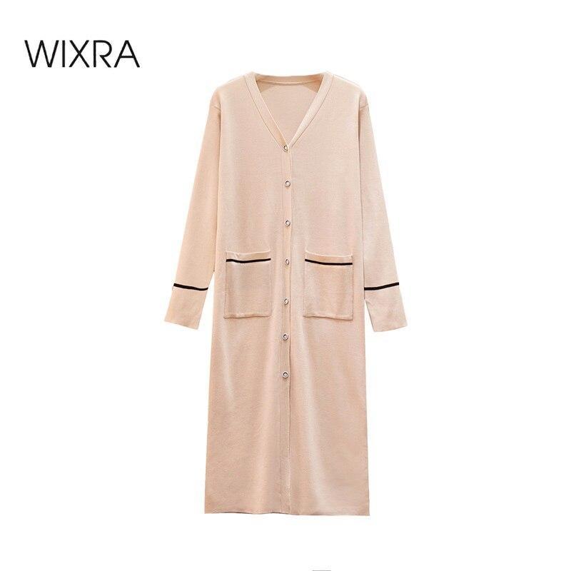 Robes tricotées Femme Automne Spring V Cou Pockets High Street Single Simple Long Long Vêtements Plus Taille pour Lady 210414