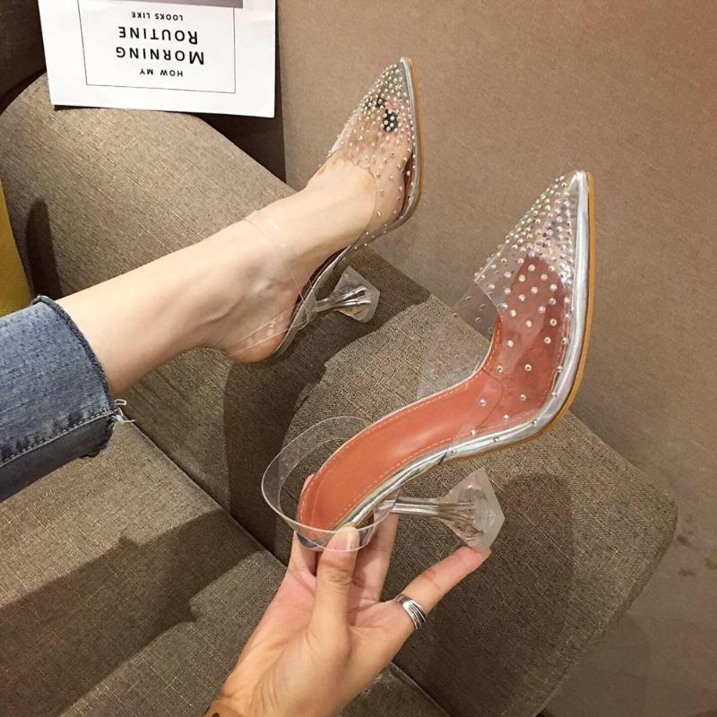 Transparent PVC Pointed Toe Rhinestone Crystal Sandals Slingback Elegant Back Strap Wedding Shoes Woman Ladies Dress 2021