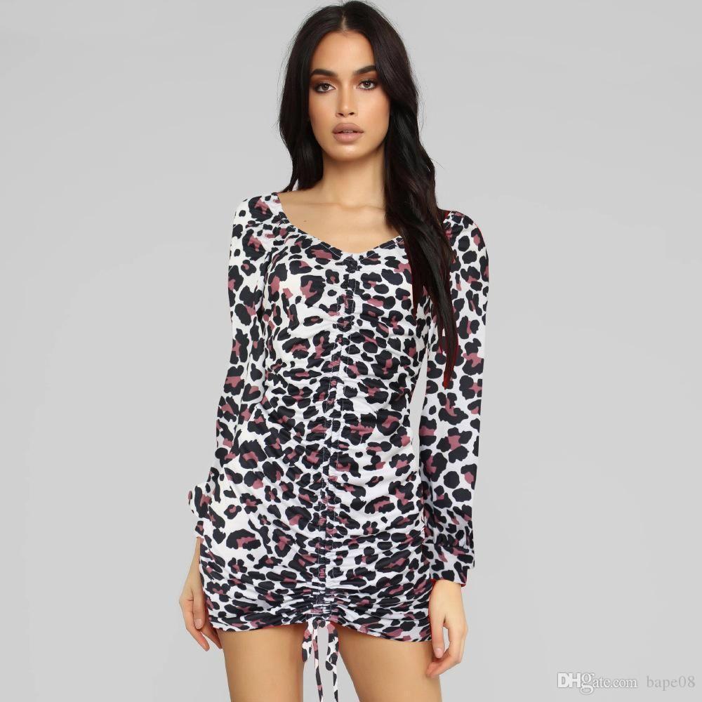 Famous designer leopard print dress ladies long-sleeved sexy bag hip skirt comfortable white S-XL size