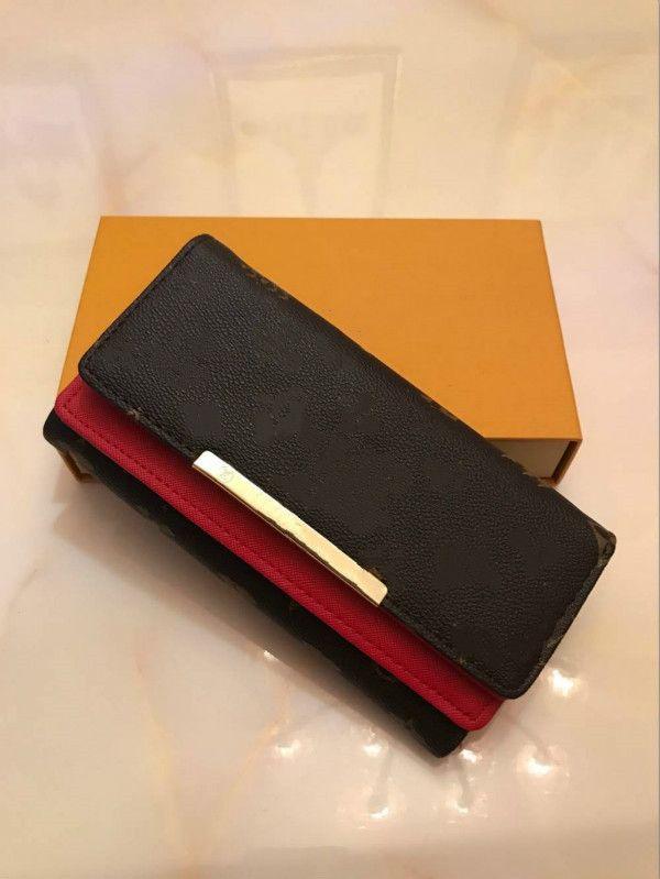 1-22 LOUIS Vuitton Lv bag Atacado vermelho e rosa moda única zíper carteiras Pocke homens mulheres de couro senhora senhoras longas com caixa laranja