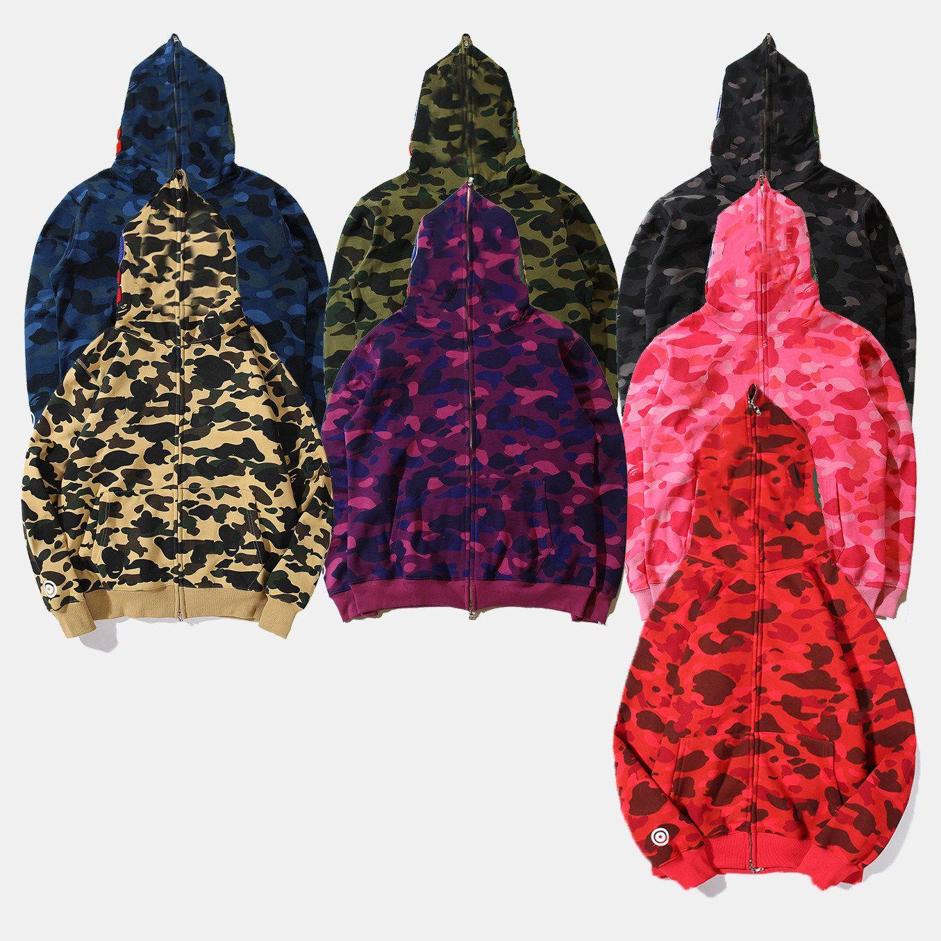 المصمم الشهير الرجال سترة هوديي سترة التمويه سمك القرش رئيس الخريف والشتاء القطن الخالص موسم متعدد الألوان S-XXL الحجم