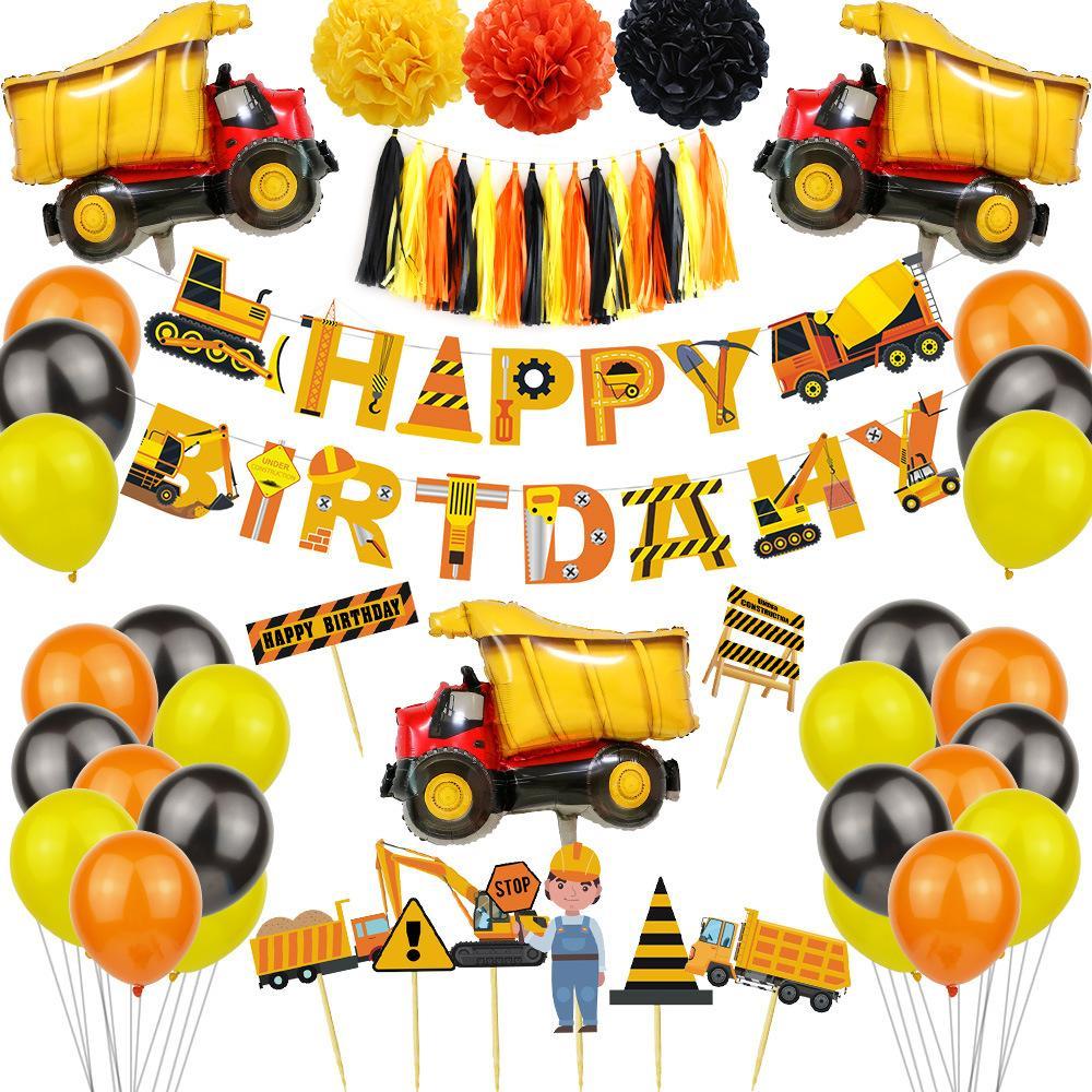 عيد ميلاد سعيد لافتات تحت عنوان الأولاد عيد ميلاد حزب كعكة السيارات القبعات العالية البالون راية مجموعة خلفية جدار زينت اللوازم