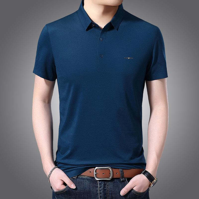 FactoryWPD8 рубашка мода поло мужчин мужская 2021 летняя новая роскошь сплошной цвет отворотки мерсеризованная хлопковая футболка повседневная ледяная шелк