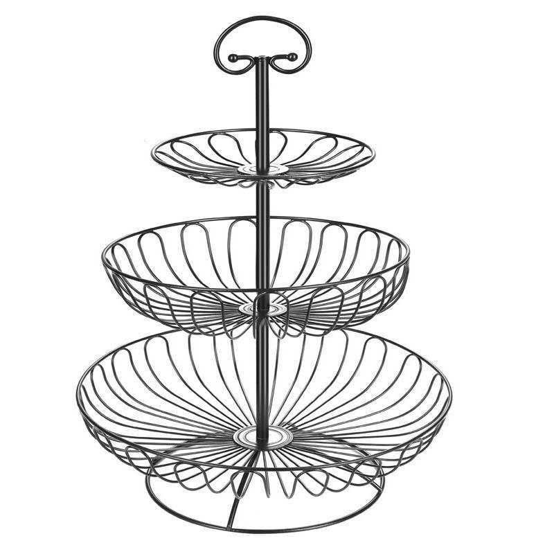 Ferro três camadas de armazenamento cesta de frutas bacia de cozinha de metal destacável suporte de sobremesa titular cestas organizador