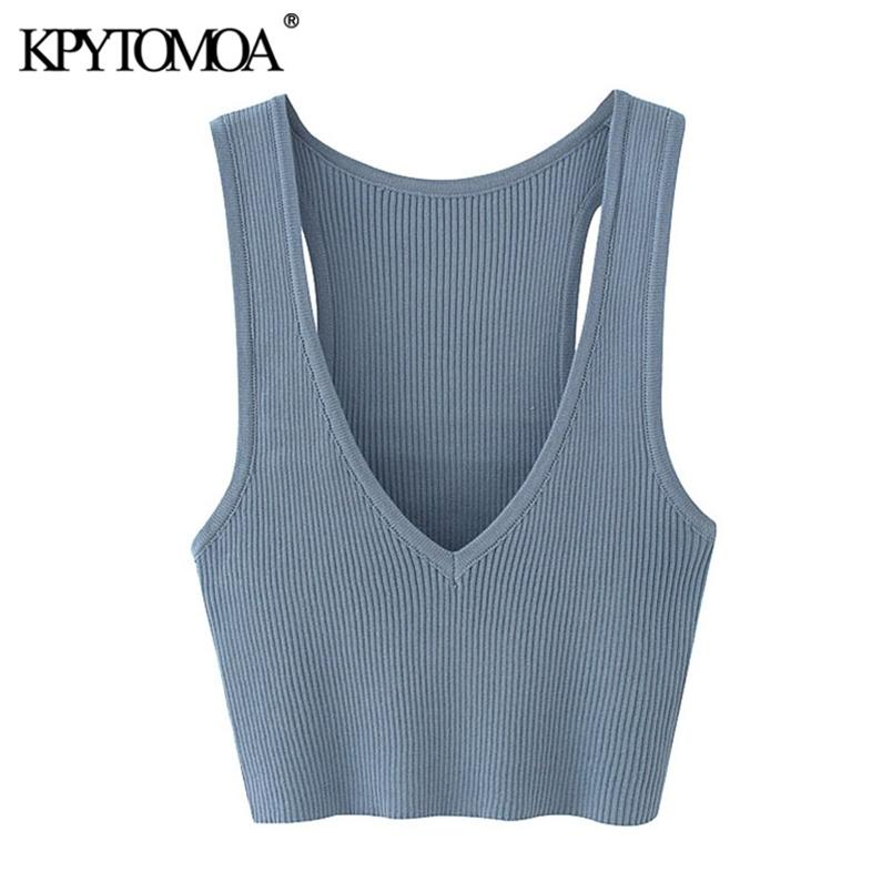 Women Sexy Fashion Deep V Neck Cropped Knitted Vest Sweater Stretchy Slim Female Waistcoat Chic Tops 210420