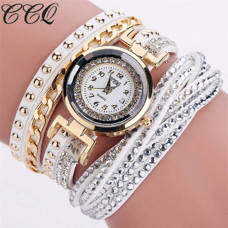 Armbanduhren CCQ Brand Geflochtene Leder Armband Uhren Mode Frauen Crytsal Quarz Kleid Uhr Relogio Feminino Geschenkuhr
