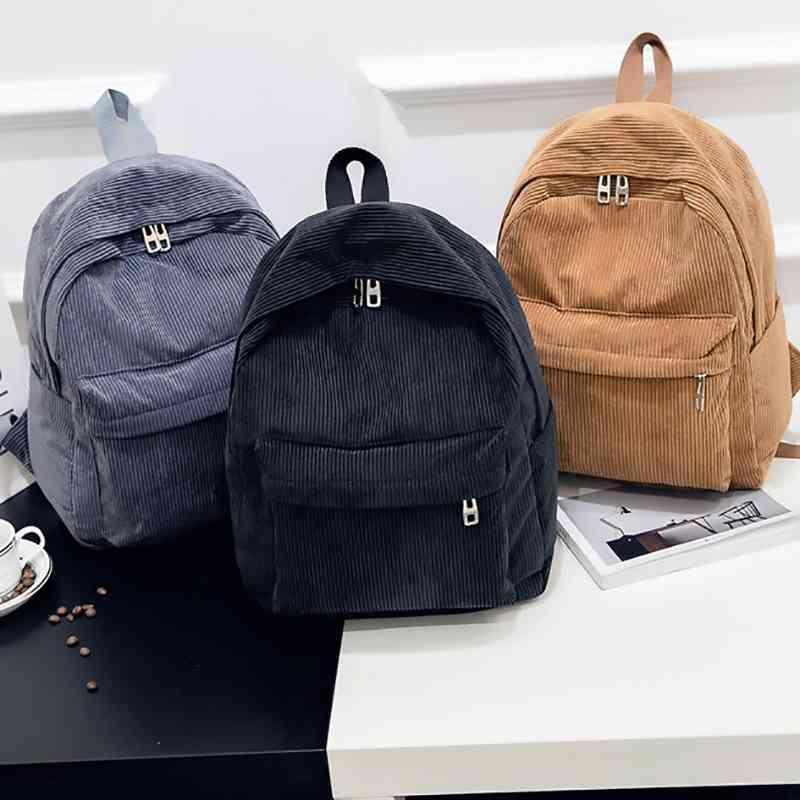 Backpack Corduroy Мода Pure Color Женщины Подростковая Девочка Школа Женщина Мочила Пакет Bagpack