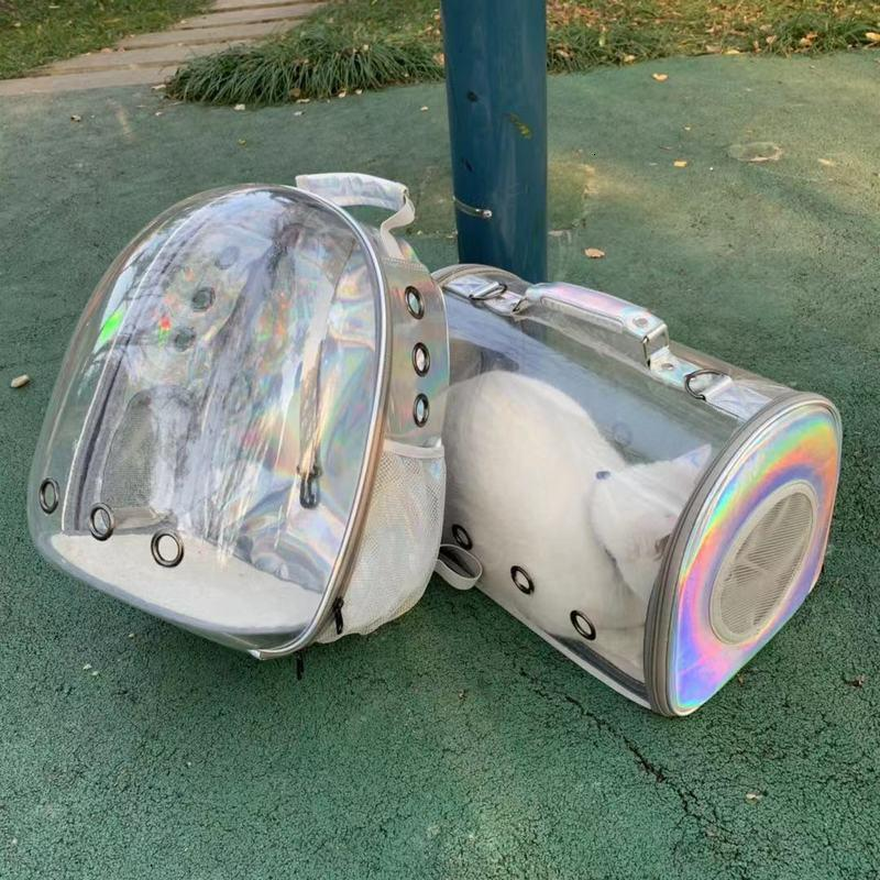 Pet Transparent Laser Going Out Cat Cage Portable Dog Backpack Space Capsule Straddle Bag