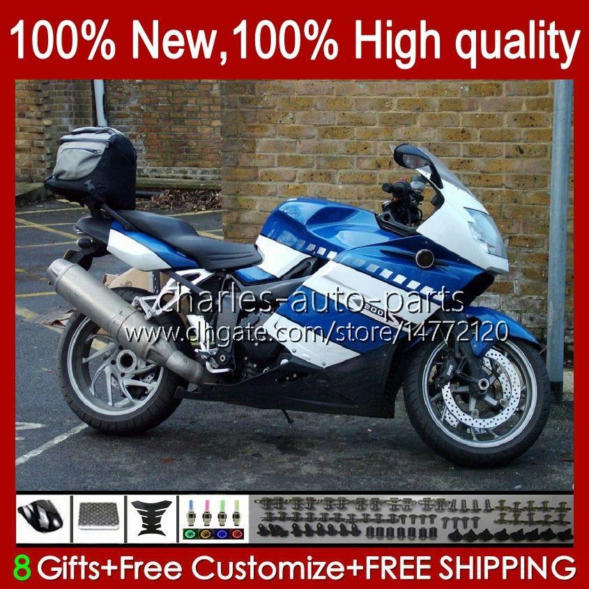Bodys + Pokrywa zbiornika dla BMW K1200 K 1200 S 1200S K1200S 05 06 07 08 09 10 Nadwozie 28NO.4 K-1200S 2005 2006 2007 2008 2009 2010 K1200-S 05-10 Motocykl Mecherings Blue Factory