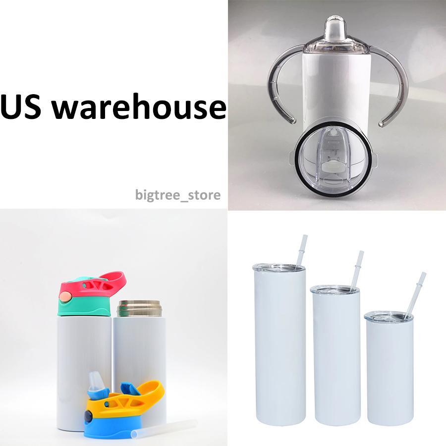 US Warehouse 12-30oz 승화 직선 텀블러 Sippy 컵 뚜껑 2 in 1 Kid Bottles 블랭크 스테인레스 스틸 물 병 이중 벽 진공 절연 머그잔 빠른
