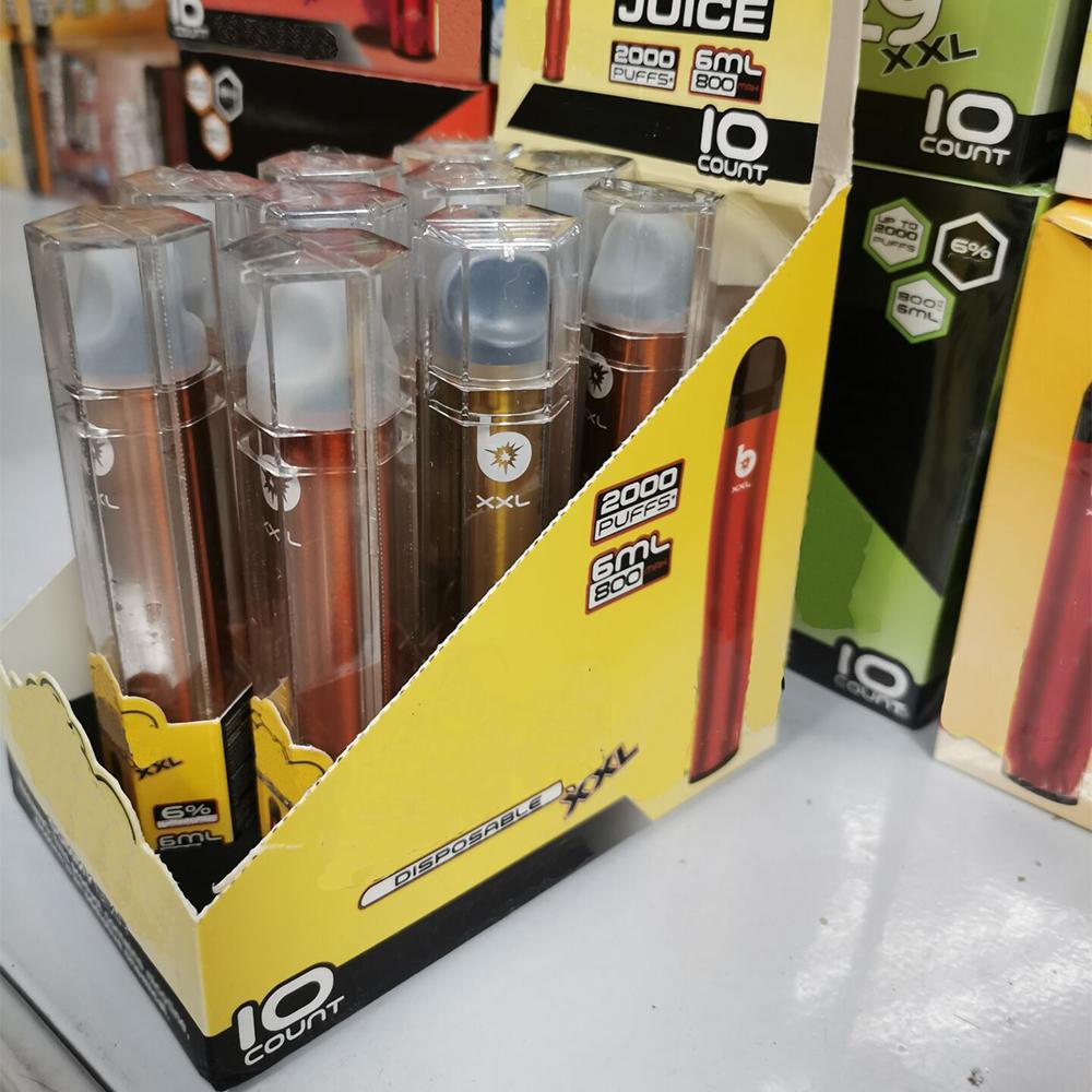 2021 PANG XXL Tek Kullanımlık Cihazı 800 mAh E-Sigaralar Pil Önceden Dolgulu 6 ml Pod 2000 Puffs Kitleri Vape Kalem Bar Artı XL Pro 24 Renkler
