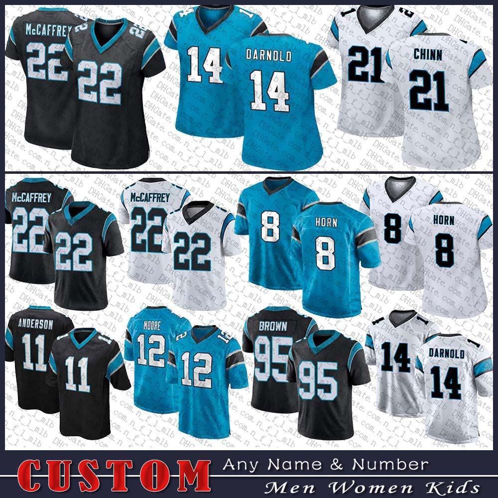 8 Jaycee Horn Football Jersey 22 Christian McCaffrey 14 Sam Darnold 53 Brian Burns 21 Jeremy Chinn A.J. Bouye Denzel Perryman personalizado homens mulheres crianças carolinaPantera