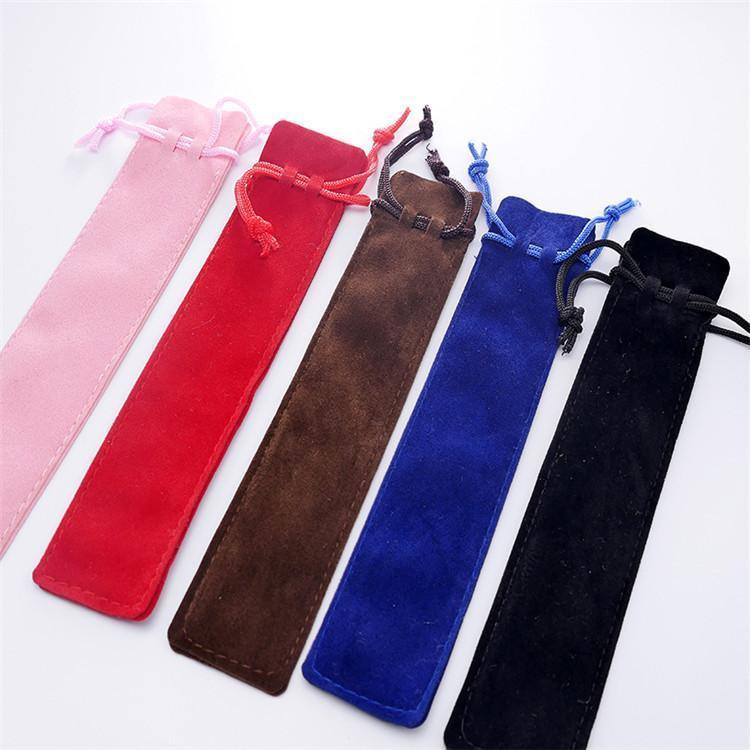 Velvet Pouch Holder Single Pencil Bag Case With Rope Office School Writing Supplies Student For Crystal Ballpoint Pen 47C3