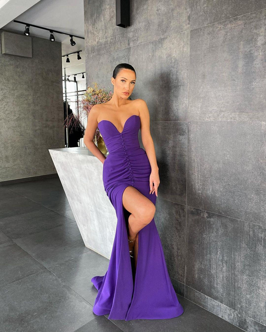 Purple Front Split Mermaid Prom Dresses Strapless Neck Pleated Evening Gowns with Buttons Sweep Train Satin Formal Dress Custom Made