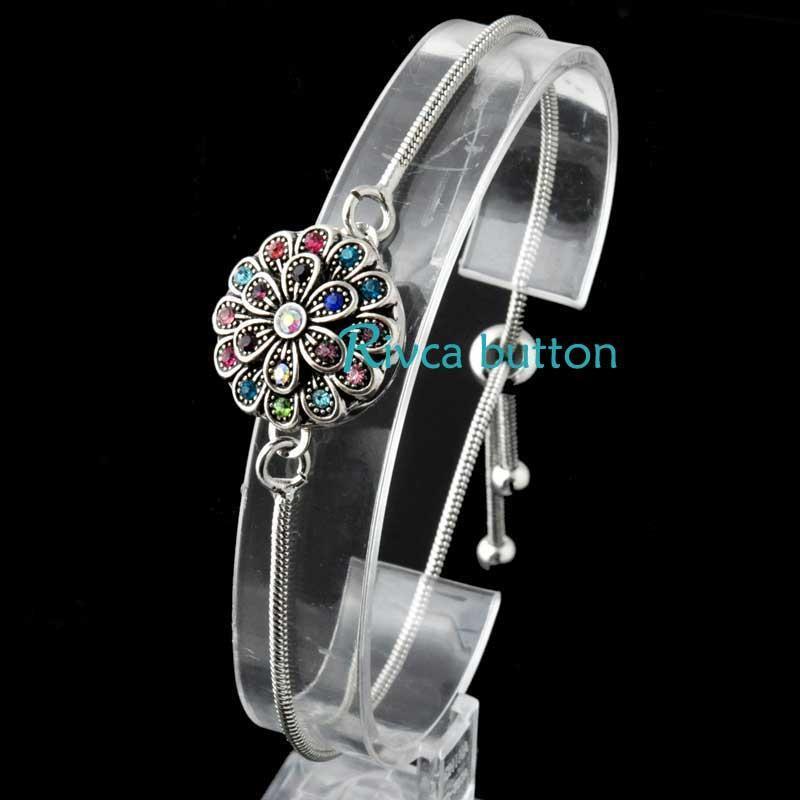RIVCA Düğme Takı Yaz Tarzı 18mm Yapış BilezikBANYA Kadınlar için Gümüş Kaplama Düğün Yılan Zincir Bilezikler P00960 Link,