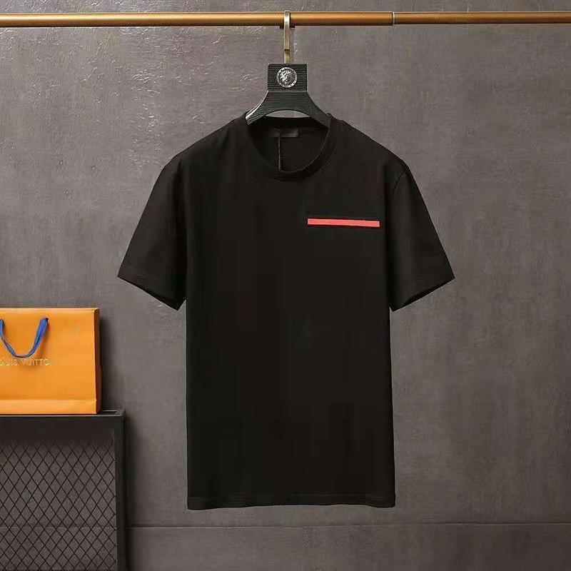 camiseta para hombre camisas de diseñador de hombres Cuello redondo Cuello doble Hilo Primavera Carta de verano High Street Tendencia suelta Tendencia de manga corta Ropa masculina