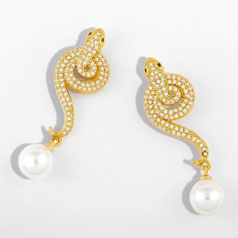 디자이너 2021 새로운 진주 귀걸이 여성 성격 과장된 뱀 귀걸이