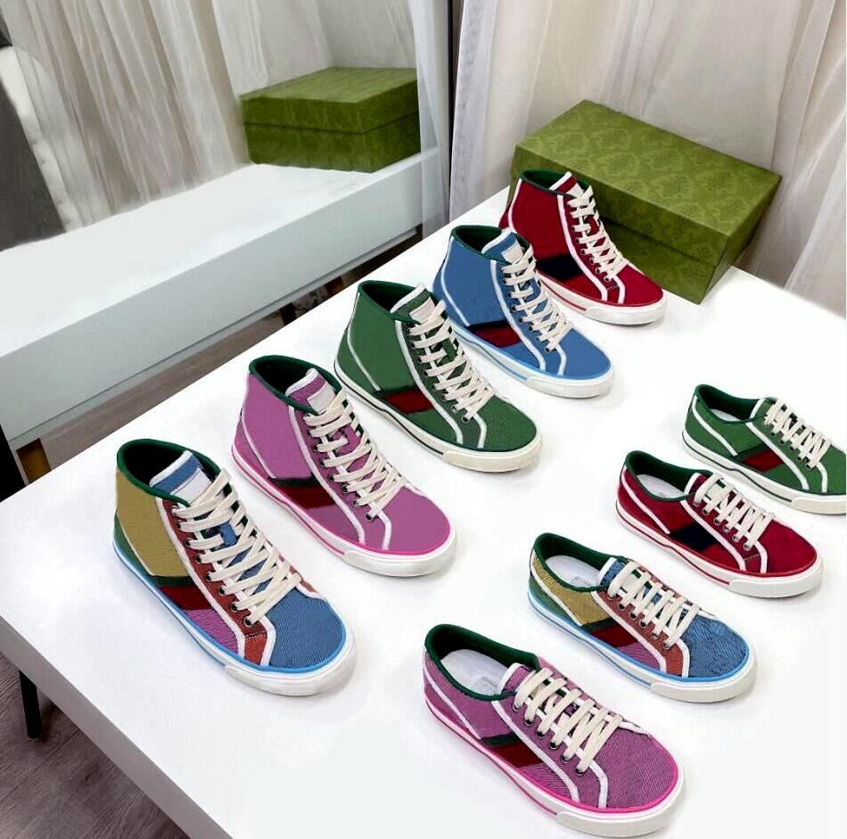 Tennis 1977 Designer Sneaker Sneaker Luxurys Scarpa Beige Lavato Jacquard Denim Donne Scarpe Shoes Ace Suola in gomma ricamata Vintage Casual Sneakers con Box Polvere