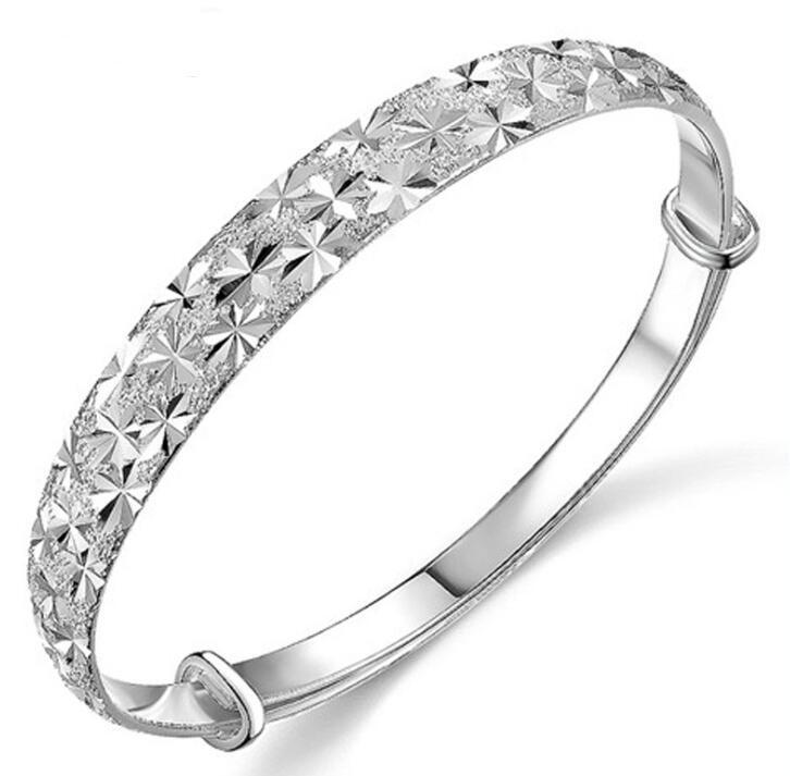 S925 Sterling Silver Plated Bangle Bracelets Brand Charm Star Cuff Bracelet Jewelry for Women