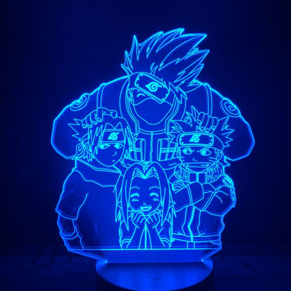 Manga LED-Licht-Team 7 Naruto Sasuke Kakashi Sakura Kinder Schlafzimmer 3D Nightlight Atmosphärenlampe