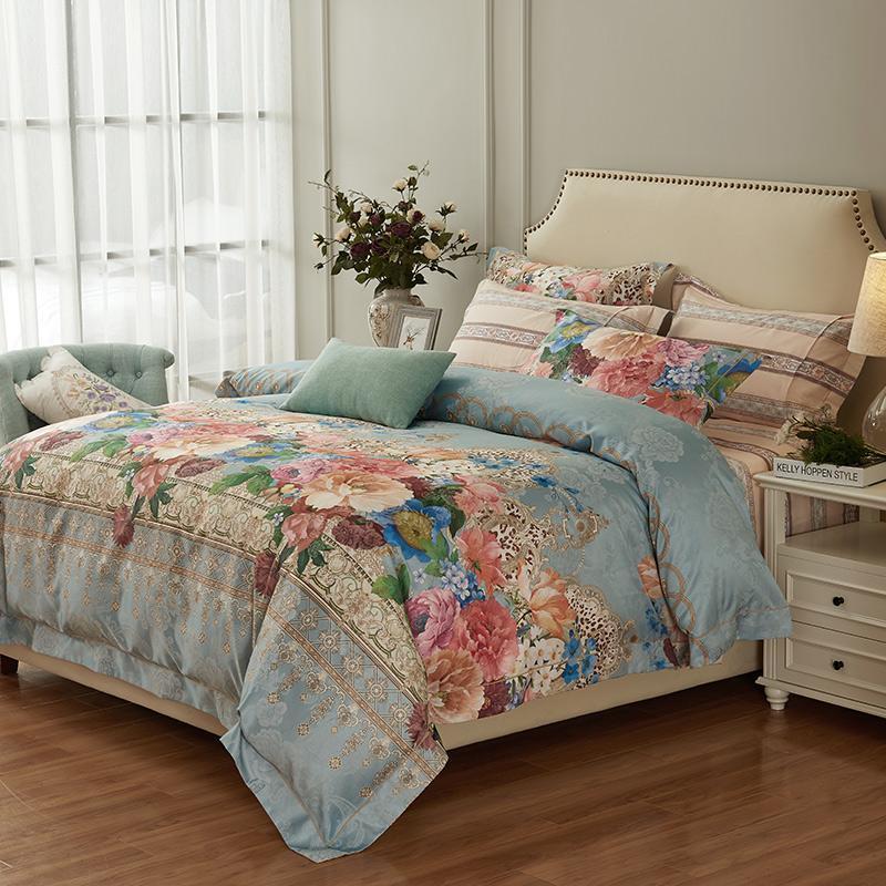 Set di biancheria da letto Set di jacquard floreale di alta qualità Set di jacquard di lusso 4pcs cotone raso raso trapunta home / coperchio piumino lenzuolo lenzuolo pillowcases queen king size