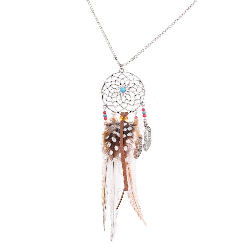 Böhmen Zigeuner Nepal Dreamcatcher Legierung Anhänger Halskette Ethnische Frauen Schmuck Feder Quaste Halsketten Collares